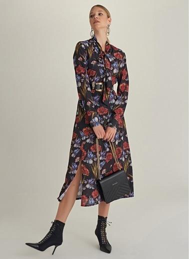 NGSTYLE Fular Yakalı Desenli Midi Elbise Siyah